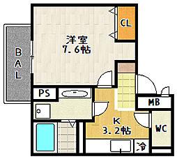 セジュールオッツ Fujinomori 1階1Kの間取り