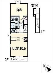 ソフィア B[1階]の間取り