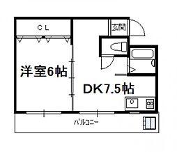 第一常盤ハイツ(1DK)[207号号室]の間取り