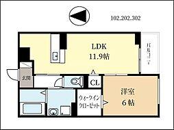 京阪本線 淀駅 徒歩31分の賃貸アパート 3階1LDKの間取り