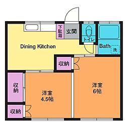 観音坂アパート[1階]の間取り
