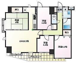 コスモ若葉ステーション・アベニュー[3階]の間取り