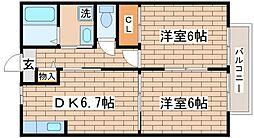 兵庫県神戸市須磨区磯馴町6丁目の賃貸アパートの間取り