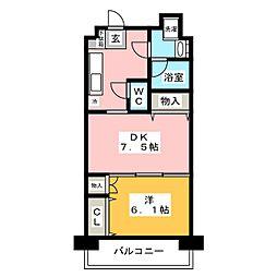 日神デュオステージ大宮浅間町 4階1DKの間取り