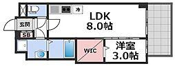 セレニテ谷九プリエ 2階1LDKの間取り