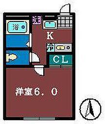 キャメル津田沼[201号室]の間取り