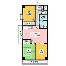 愛知県名古屋市瑞穂区日向町3丁目の賃貸マンションの間取り