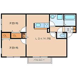 奈良県香芝市畑の賃貸アパートの間取り