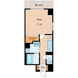 都営新宿線 東大島駅 徒歩4分の賃貸マンション 5階1Kの間取り