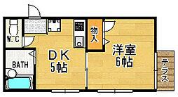 兵庫県宝塚市川面3丁目の賃貸アパートの間取り