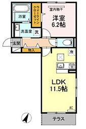 Dーroom戸原東 1階2LDKの間取り