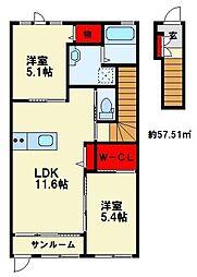 大城新築アパート[2階]の間取り