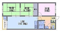 コーポ中小路[2階]の間取り