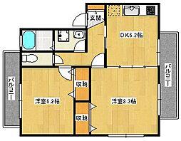 コンクオーレ香ケ丘A棟[1階]の間取り