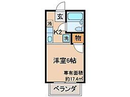 京都府京都市山科区大宅関生の賃貸アパートの間取り
