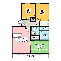 栃木県宇都宮市元今泉3丁目の賃貸アパートの間取り
