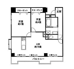 神奈川県横浜市都筑区仲町台2丁目の賃貸マンションの間取り