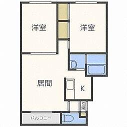 北海道札幌市西区発寒十条11丁目の賃貸マンションの間取り