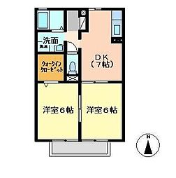 宮崎県宮崎市大坪町の賃貸アパートの間取り