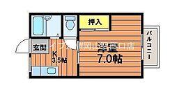 岡山県岡山市北区北方3丁目の賃貸アパートの間取り