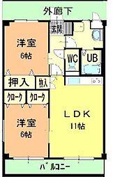 ハーブメゾン藤井 B[1階]の間取り