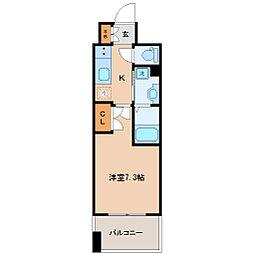 レジディア仙台上杉 9階1Kの間取り