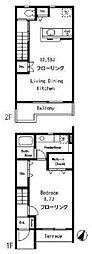東急目黒線 武蔵小山駅 徒歩9分の賃貸テラスハウス 1階1LDKの間取り