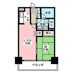 錦ハーモニー[6階]の間取り