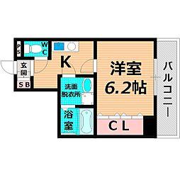 京阪本線 関目駅 徒歩7分の賃貸マンション 2階1Kの間取り