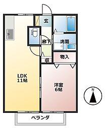 樽見鉄道 東大垣駅 3.7kmの賃貸アパート 2階1LDKの間取り