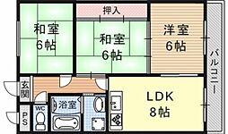 カワナカマンション[3C号室号室]の間取り