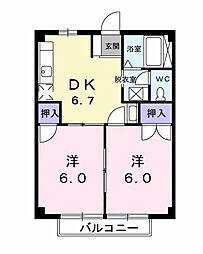 ルーセントハイツB[2階]の間取り