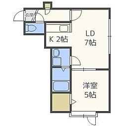 クレール 2階1DKの間取り
