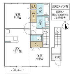 アモール II C棟[201号室号室]の間取り