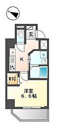 仮称)新宿区山吹町マンション新築工事 6階1Kの間取り
