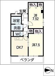 ロイメント名駅[4階]の間取り