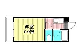 藤田マンション 4階1Kの間取り