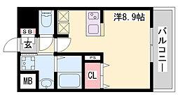 ファーストフィオーレ三宮イーストII 3階ワンルームの間取り