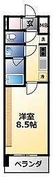 近鉄南大阪線 河堀口駅 徒歩8分の賃貸マンション 6階1Kの間取り