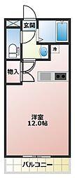 ファミリーマンションV 2階ワンルームの間取り