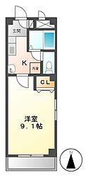 愛知県名古屋市中村区烏森町6の賃貸アパートの間取り