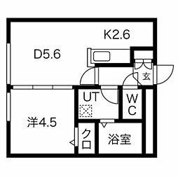 エルフ11 4階1DKの間取り