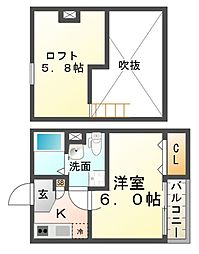 兵庫県尼崎市東本町1丁目の賃貸アパートの間取り