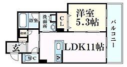 JR東海道・山陽本線 甲南山手駅 徒歩10分の賃貸マンション 2階1LDKの間取り