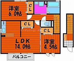 岡山県岡山市南区平福1丁目の賃貸アパートの間取り