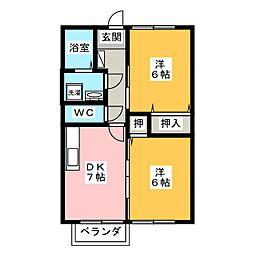 ドミールサンライズ B棟[2階]の間取り