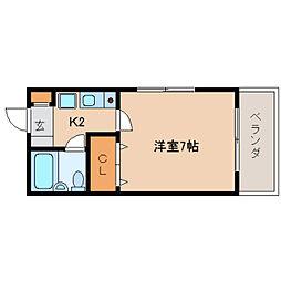 奈良県生駒市東生駒2丁目の賃貸マンションの間取り