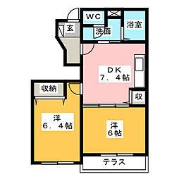 ドゥーコワン[1階]の間取り