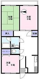 ルナハイム田柄第二[3階]の間取り
