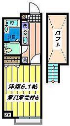 埼玉県川口市鳩ケ谷本町3丁目の賃貸アパートの間取り